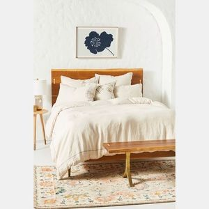 Anthropologie Stitched Linen Duvet Cover Oatmeal